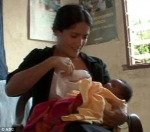 Salma Hayek breastfeeding baby